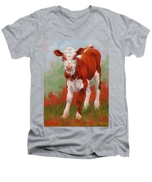 Colorful Calf Men's V-Neck T-Shirt by Margaret Stockdale