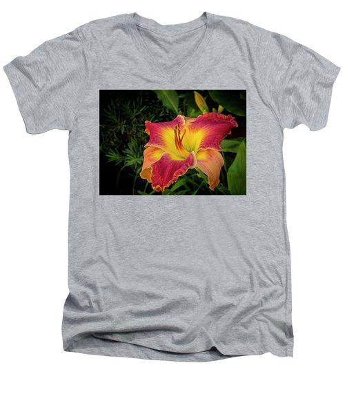 Colorful Lily  Men's V-Neck T-Shirt