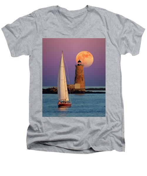 Men's V-Neck T-Shirt featuring the photograph Convergence by Larry Landolfi