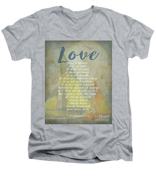 1 Corinthians 13 4-8 Love Is Patient Love Is Kind Wedding Verses. Great Gift For Men Or Home Decor. Men's V-Neck T-Shirt