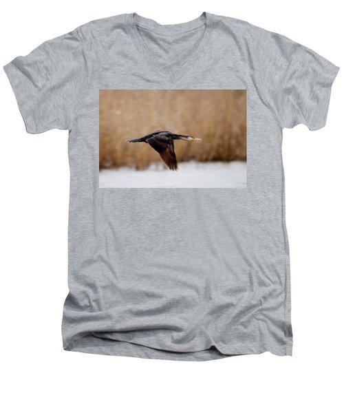 Cormorant In Flight Men's V-Neck T-Shirt