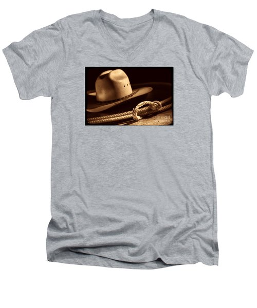 Cowboy Hat And Lasso Men's V-Neck T-Shirt by American West Legend By Olivier Le Queinec