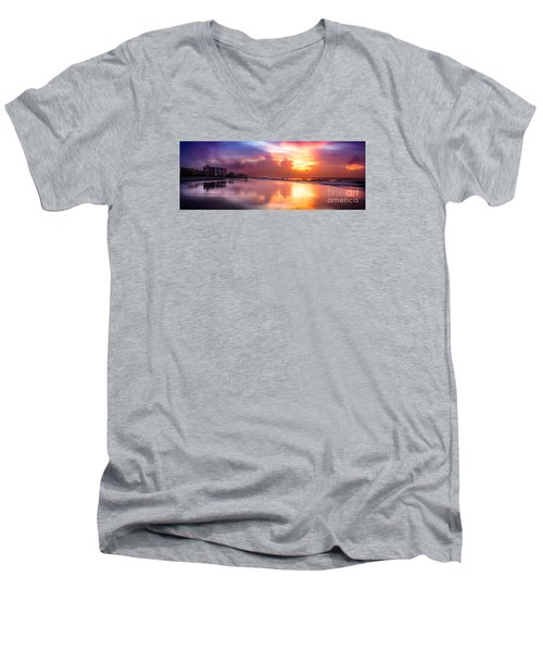 Crescent Beach September Morning Men's V-Neck T-Shirt by David Smith
