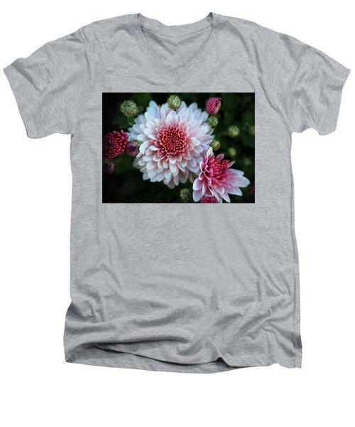 Dahlia Burst Men's V-Neck T-Shirt by Ronda Ryan