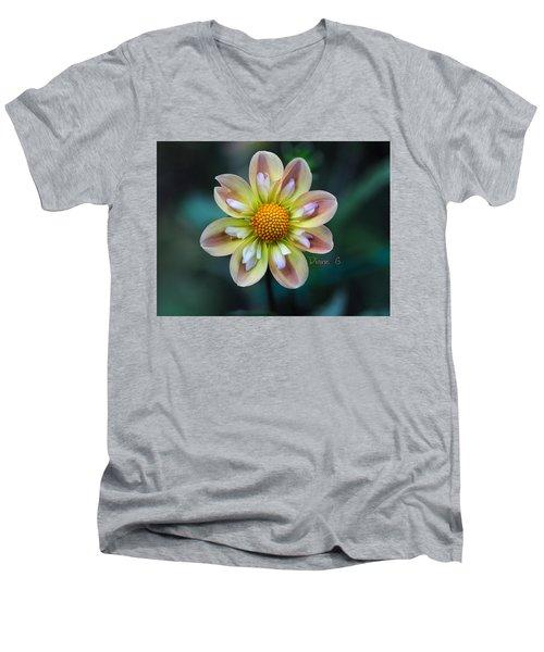 Dahlia Men's V-Neck T-Shirt by Diane Giurco
