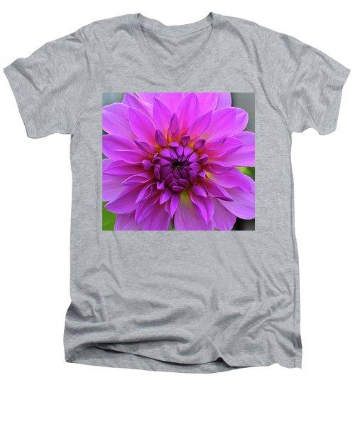 Dahlia Men's V-Neck T-Shirt by Ronda Ryan