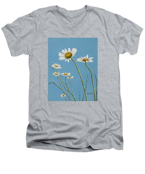 Daisies In The Wind Men's V-Neck T-Shirt