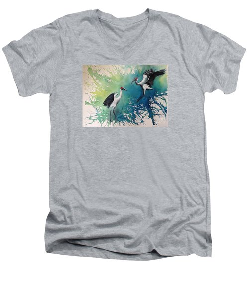 Men's V-Neck T-Shirt featuring the painting Dance Of The Brolgas - Original Sold by Therese Alcorn