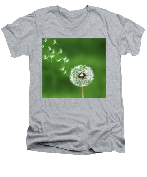 Men's V-Neck T-Shirt featuring the photograph Dandelion by Bess Hamiti