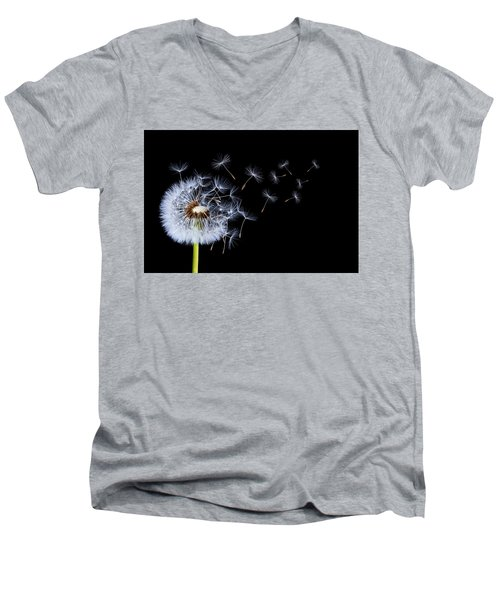 Men's V-Neck T-Shirt featuring the photograph Dandelion On Black Background by Bess Hamiti