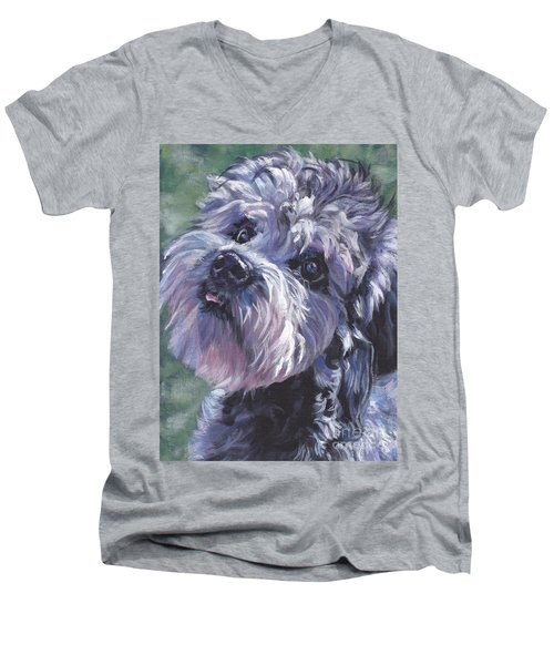 Men's V-Neck T-Shirt featuring the painting Dandie Dinmont Terrier by Lee Ann Shepard