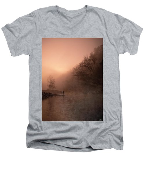 Dawn On The Lower Mountain Fork River Men's V-Neck T-Shirt