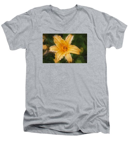 Daylily Hemerocallis Stella De Oro  Men's V-Neck T-Shirt by Rich Franco