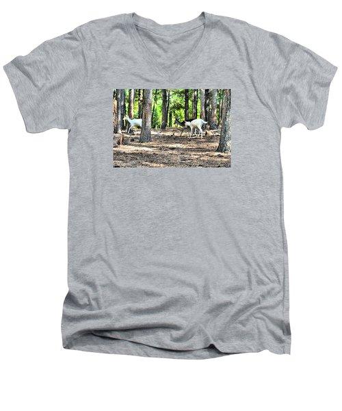 Deer In The Woods Men's V-Neck T-Shirt by James Potts