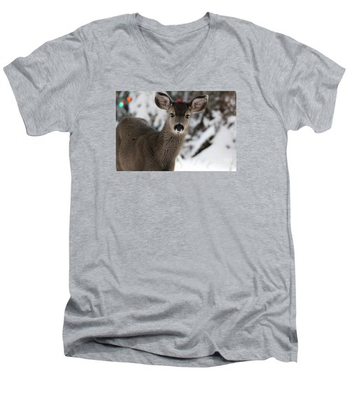Men's V-Neck T-Shirt featuring the photograph Deer by Irina Hays