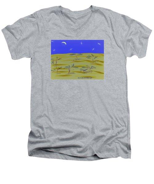 Men's V-Neck T-Shirt featuring the digital art Desert Night by Dr Loifer Vladimir
