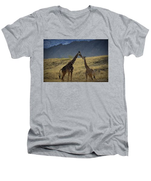 Desert Palm Giraffe 001 Men's V-Neck T-Shirt by Guy Hoffman