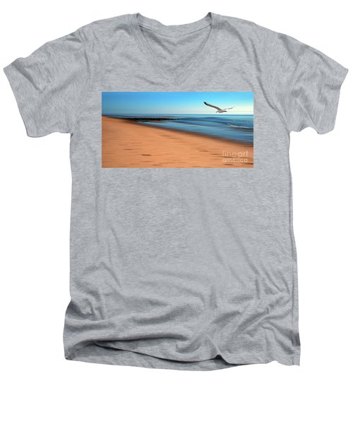 Men's V-Neck T-Shirt featuring the photograph Desire Light  by Hannes Cmarits