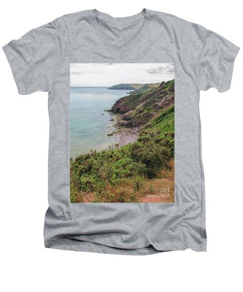 Devon Coastal View Men's V-Neck T-Shirt by Patricia Hofmeester