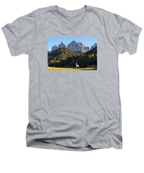 Dolomites Mountain Church Men's V-Neck T-Shirt by IPics Photography