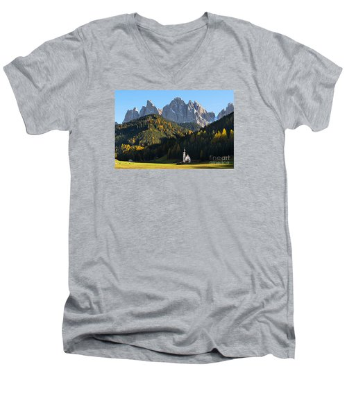 Dolomites Mountain Church Men's V-Neck T-Shirt