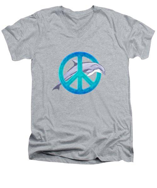 Dolphin Peace Men's V-Neck T-Shirt by Chris MacDonald