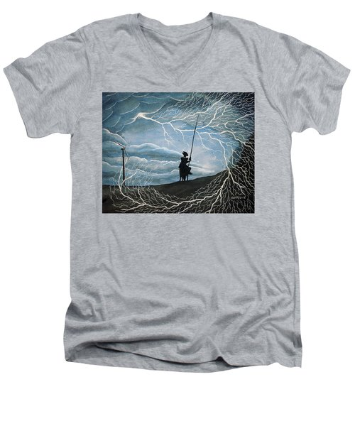 Men's V-Neck T-Shirt featuring the painting Don Quijote by Edwin Alverio