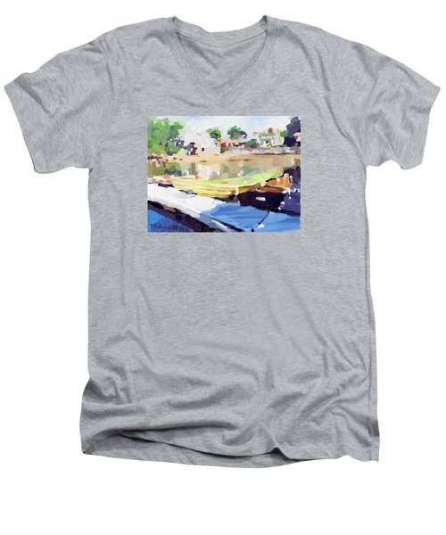 Dories At Beacon Marine Basin Men's V-Neck T-Shirt by Melissa Abbott