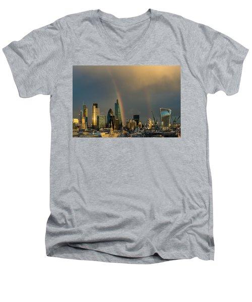 Double Rainbow Over The City Of London Men's V-Neck T-Shirt