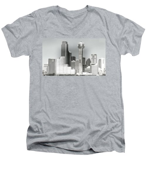 Men's V-Neck T-Shirt featuring the photograph Downtown Dallas by Joan Bertucci
