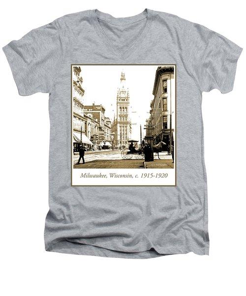 Downtown Milwaukee, C. 1915-1920, Vintage Photograph Men's V-Neck T-Shirt