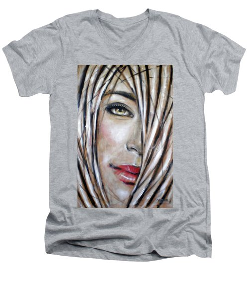 Men's V-Neck T-Shirt featuring the painting Dream In Amber 120809 by Selena Boron