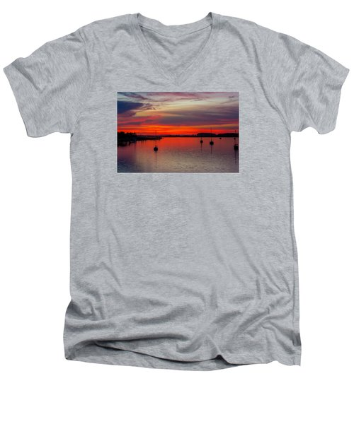 Men's V-Neck T-Shirt featuring the photograph Dusk by RC Pics