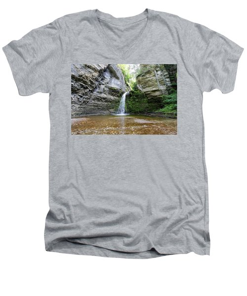 Eagle Cliff Falls In Ny Men's V-Neck T-Shirt