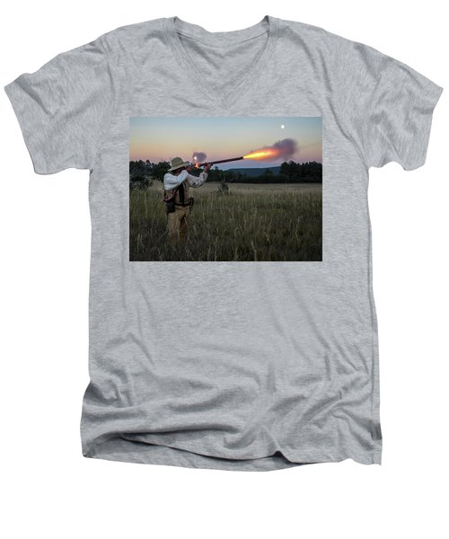 Early 1800's Flintlock Muzzleloader Blast Men's V-Neck T-Shirt
