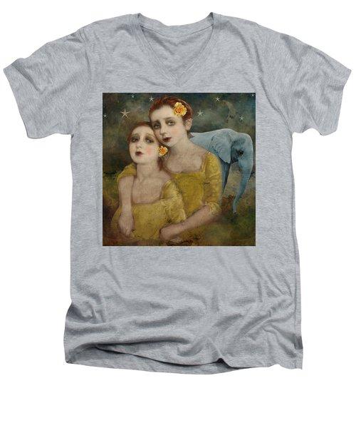 Elephant Dreamer Men's V-Neck T-Shirt by Lisa Noneman