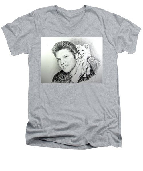 Elvis And Sweet-pea Men's V-Neck T-Shirt by Patricia Schneider Mitchell