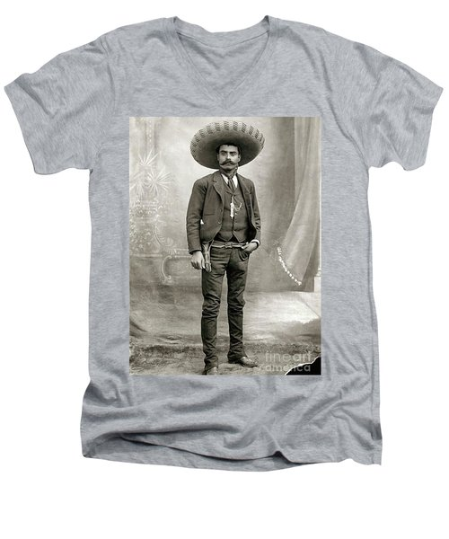 Emiliano Zapata Men's V-Neck T-Shirt by Pg Reproductions