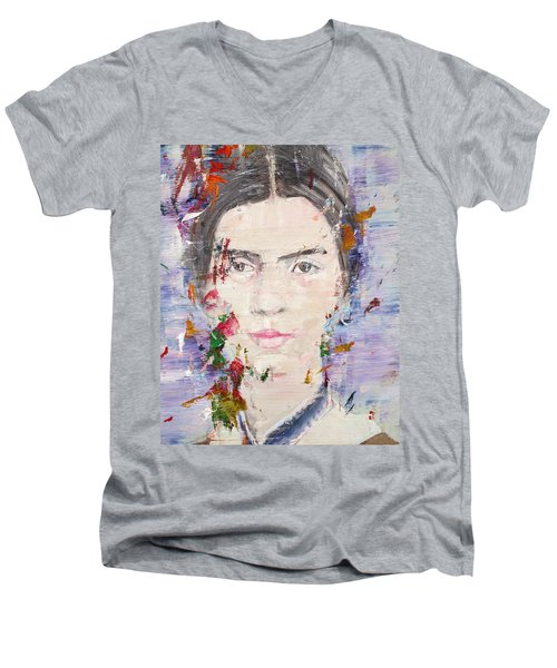 Men's V-Neck T-Shirt featuring the painting Emily Dickinson - Oil Portrait by Fabrizio Cassetta