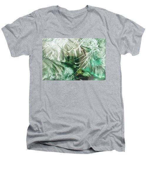 Encaustic Abstract Green Foliage Men's V-Neck T-Shirt