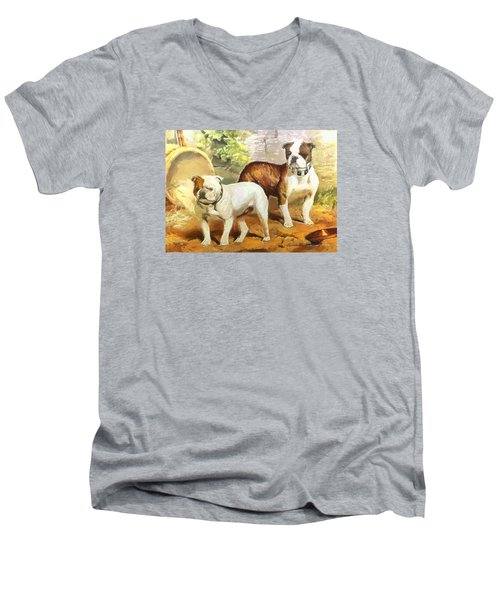 Men's V-Neck T-Shirt featuring the digital art English Bulldogs by Charmaine Zoe