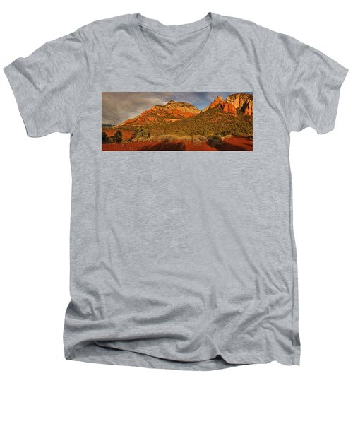 Evening Shadows Pano Txt Men's V-Neck T-Shirt