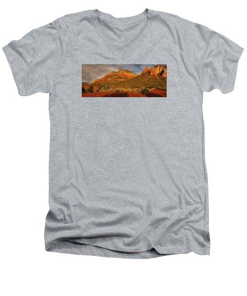 Evening Shadows Pano Txt Men's V-Neck T-Shirt