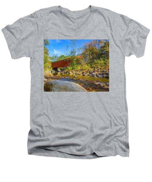Everett Covered Bridge  Men's V-Neck T-Shirt