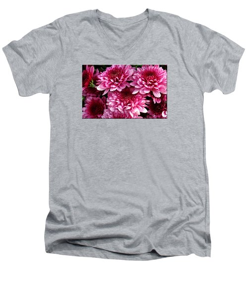 Fall Flowers Men's V-Neck T-Shirt by Mikki Cucuzzo