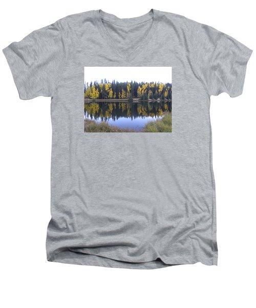 Potty Pond Reflection - Fall Colors Divide Co Men's V-Neck T-Shirt