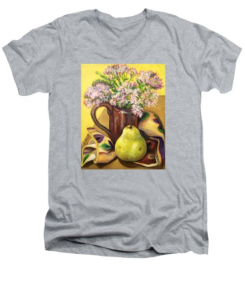 Men's V-Neck T-Shirt featuring the painting Fall Still Life by Laura Aceto