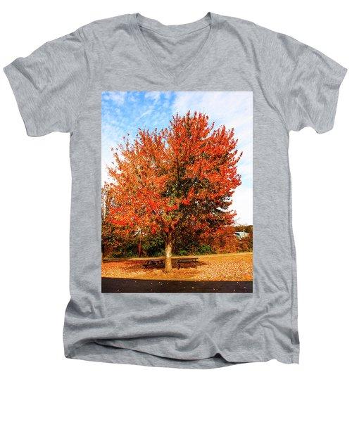 Fall Time Men's V-Neck T-Shirt by Randy Sylvia
