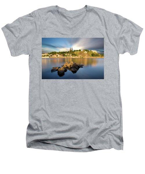 Famous Vysehrad Church During Sunny Day. Amazing Cloudy Sky In Motion. Vltava River, Prague, Czech Republic Men's V-Neck T-Shirt