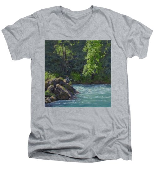 Men's V-Neck T-Shirt featuring the painting Favorite Spot by Karen Ilari